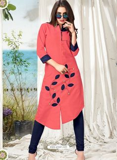 Be an angel and create and establish a smashing impression on for every person by carrying this Pink Cotton Party Wear Kurti. The interesting printed work a considerable attribute of this attire. Silk Kurti Designs, Kurta Designs Women, Kurti Designs Party Wear, Kurti Sleeves Design, Sleeves Designs For Dresses, Party Wear Kurtis, Kurti Embroidery Design, Pakistani Fashion Casual, Kurti Patterns