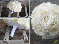 Ramo de novia con rosas blancas.Mayula Flores.