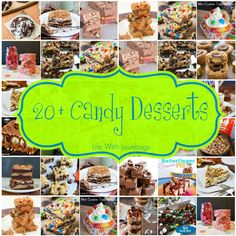 20+ Candy Dessert Recipes - Lots of great ideas for using up Halloween candy!