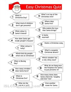 Easy Christmas Trivia Questions And Answers