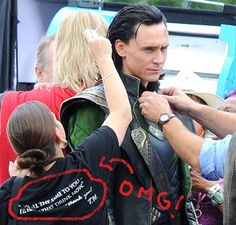 "I want her shirt! Lol. Also, this was when they were still filming ""The Avengers,"" so that makes it even better! Lol."