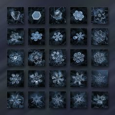 End of season - dark crystals: dark blue collage with grid of 25 square tiles with real snowflake photos