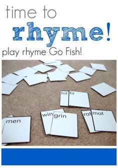 time to rhyme: play rhyme Go Fish! they are blank so if you want to use with pre-k just add pictures/stickers or better yet have them draw a picture of the word :) Reading Skills, Teaching Reading, Learning Activities, Kids Learning, Reading Intervention, Rhyming Activities, Kindergarten Literacy, Early Literacy, Literacy Centers