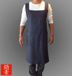 "It's a mens apron, but I want it for myself! Mens Apron - Original ""No Ties"" Japanese Apron Denim Pin Striped. Hmm - can i figure out a pattern I wonder? Japanese Apron, Aprons For Men, Denim Crafts, Famous Men, Vintage Fashion, Vintage Style, Men's Apron, Shirt Designs, The Originals"