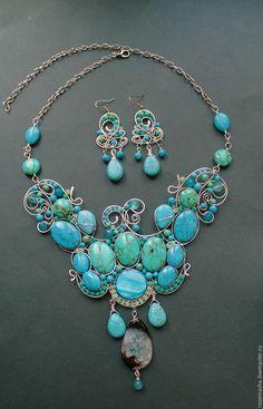 """Купить Колье """"Чистейшей Прелести..."""" - серебряный, wire wrap, натуральные камни, фэнтезийное, модерн"""