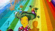 colourful art : Os Gemeos is a street art duo from Brazil who create amazing colourful art Pablo Picasso, Rainbow Gathering, Best Street Art, Nyc, Graffiti Wall, New York Street, Chalk Art, Street Artists, Installation Art