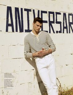 British model Arran Sly heads to the coast for a nautical fashion shoot photographed by Nacho Alegre, styled by Laura Alcalde, in Best Fashion magazine. Fashion Tape, Fashion Shoot, Editorial Fashion, Fashion Models, Mens Fashion, Cute Male Models, Best Fashion Magazines, Solid And Striped, Nautical Fashion