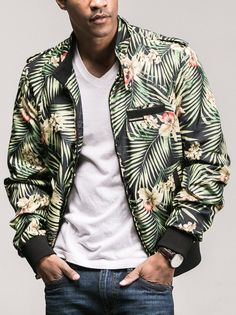 Tropical vibes with the new Members Only floral bomber.