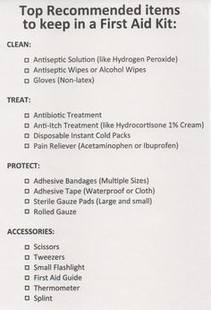 A printable checklist for the top recommended items to keep in a First Aid Kit. A printable checklist for the top recommended items to keep in a First Aid Kit. First Aid Kit Checklist, First Aid Tips, Emergency First Aid, Emergency Preparation, Family Emergency, Survival Tips, Survival Skills, Survival Quotes, Asthma