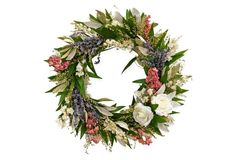 """17"""" Floral Meadow Wreath, Dried"""