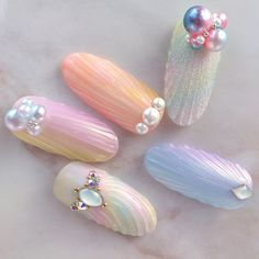 {33F6248D-67B9-479F-B18F-2F29097F1DC0} Love Nails, How To Do Nails, Pretty Nails, Nail Desighns, Mermaid Nail Art, Pearl Nails, Japanese Nail Art, Pastel Nails, Shellac Nails