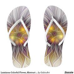 Luminous Colorful Flower, Abstract Modern Fractal Flip Flops