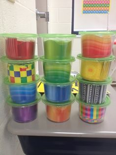 easily store bulletin board borders in dollar store soup containers. Then easily store bulletin board borders in dollar store soup containers. Classroom Organisation, Teacher Organization, Classroom Setup, New Classroom, Teacher Hacks, Kindergarten Classroom, Classroom Management, Teacher Stuff, Classroom Hacks