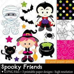 Halloween clip art and digital paper set - Spooky Friends. $6.00, via Etsy.