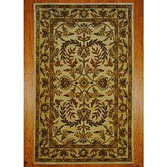 Indo Hand-tufted Kashan Beige Wool Rug (5' x 8')