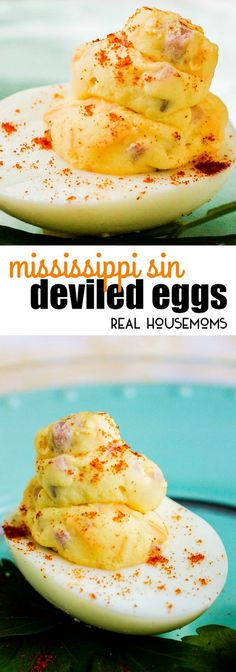 These Mississippi Sin Deviled Eggs take two southern classics and turn them into one amazing appetizer! via @realhousemoms