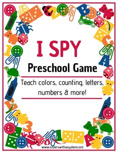 This engaging, multi-sensory I Spy game is a perfect way to teach your child letters, numbers, colors and more! Simple instruction and free printable I Spy cards using items you already have. Preschool Learning Activities, Free Preschool, Alphabet Activities, Preschool Classroom, Toddler Preschool, Toddler Activities, Preschool Activities, Preschool Colors, Early Learning