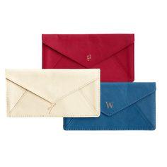 Mark and Graham monogrammed leather envelope. OBSESSED.