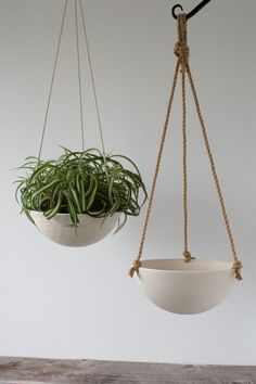 Planters ceiling Large Hanging Planter, Ceramic Porcelain Basket with Jute or Cotton Cord, Hand Carved Geometric or Smooth Finish Large Hanging Planters, Cement Planters, Outdoor Planters, Ceramic Planters, Hanging Baskets, Hanging Plants, Planter Pots, Planter Ideas, Jute