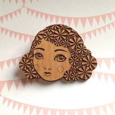 Candy Darling  Sweet Laser Cut Wooden Brooch by DollsInTrees, $15.00