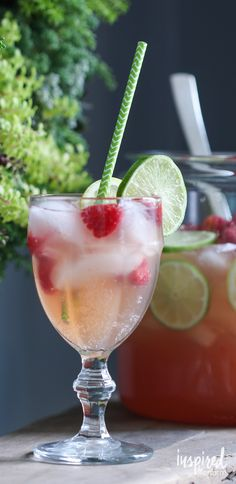 Raspberry Beer Cocktail. One of my favorite summer cocktail recipes. This makes a punch style serving so it's perfect for parties!