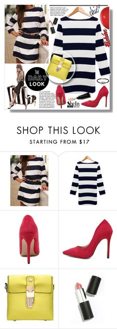 """""""SheIn Striped Lose Dress"""" by lillili25 ❤ liked on Polyvore featuring Sigma Beauty, Jewel Exclusive, Sheinside, polyvoreeditorial and shein"""