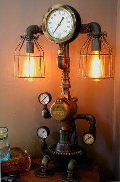 Machine Age Steampunk Steam Gauge Lamp #59 - SOLD