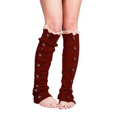 Button Down Leg Warmers  Red - $24.00
