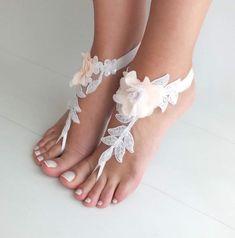 Barefoot Wedding Sandals for Beach Weddings - Wedding Tips 101 Bridesmaid Sandals, Beach Wedding Sandals, Beach Anklets, Beach Shoes, Bridesmaid Gifts, Barefoot Wedding, Wedding Boots, Lace Wedding, Dream Wedding