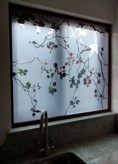 WINDOW TREATMENTS - Kitchen window Etched glass Opaque glass Privacy glass Sliding windows as secondary glazing. Glass Partition Designs, Window Glass Design, Frosted Glass Design, Frosted Glass Window, Etched Glass Door, Sliding Glass Door, Sliding Windows, Etched Glass Windows, Kitchen Glass Doors