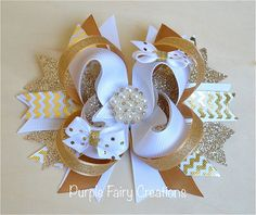 Gold and White Holiday Stacked Boutique Bow - Baby Girl, Newborn, Infant, Toddler, Child, No Slip Grip Clippie (Hair Clip or Headband) Christmas, OTT Bow, Twisted Bow by PurpleFairyCreations