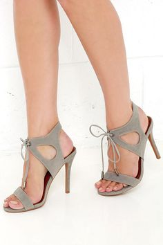 It's My Party Grey Lace-Up Heels at Lulus.com!