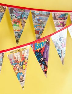 Make super hero party pennant banner out of vintage comic books!