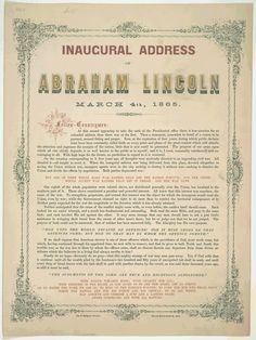 1861 President Presidential Inauguration of 16th President Abraham Lincoln - Inaugural Address