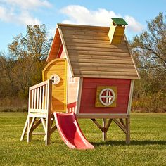 Kids will create their own fun space in the wood complete ready-to-assemble Hide and Slide Playhouse. This playhouse offers not only a place for kids to call their own, but they can also slide in and out of their hideaway. Unique design and fun colors set this house apart from other backyard playhouses. Perfectly sized for any backyard and ready to assemble. Kit includes all needed lumber, hardware and detailed instructions. Meets or exceeds all ASTM safety standards for backyard…