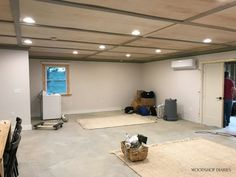 How We Installed a Plywood Ceiling Basement Remodel Diy, Basement House, Basement Makeover, Basement Renovations, Basement Ideas, Plywood Ceiling, Wood Ceilings, Cheap Ceiling Ideas, Finish Basement Ceiling