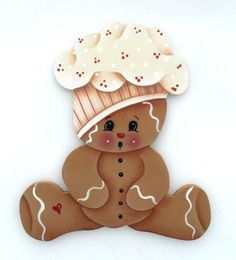 So cute gingerbread man images on ginger clipart Gingerbread Ornaments, Gingerbread Decorations, Christmas Gingerbread, Christmas Candy, Christmas Art, Christmas Decorations, Christmas Ornaments, Pinterest Pinturas, Country Paintings
