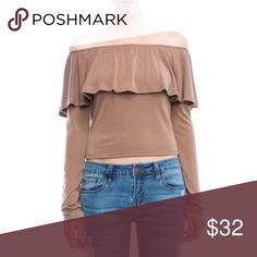 Fabulous Off-The-Shoulder Top New for fall! This flirty, tan top's fabric has almost a velvety feel. Suggested retail is $50 so it's a steal! Available in XS, S, M, and L. Sadie & Sage Tops Tees - Long Sleeve