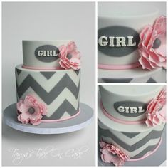 Pink & grey chevron baby shower cake. Pink sugar flowers. 2 tier baby shower cake. But Blue for Boy with little birds on top would be cute! Maybe not flowers and a few woodland animals:)