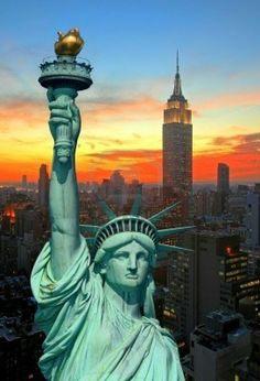 NYC | statue of Liberty | sunset