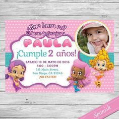 Bubble Guppies Invitacion -  Custom Printable Invite - Nick Jr- Para Imprimir - Español- Spanish - Invitacion Personalizada con foto by DsInvitations on Etsy
