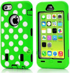 Amazon.com: myLife (TM) Black + Lime Green Polka Dotted Style 3 Layer (Hybrid Flex Gel) Grip Case for New Apple iPhone 5C Touch Phone (Exter...