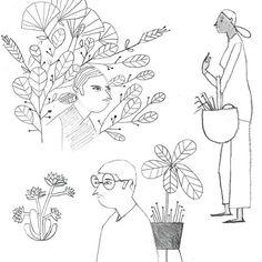 """좋아요 105개, 댓글 9개 - Instagram의 Elizabeth Wood(@artdejure)님: """"More late night doodles. Have no idea why I drew people with plants next to them. #30dayproject…"""""""