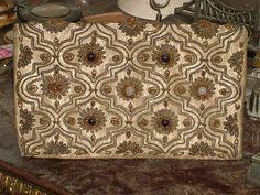 An Ottoman Sultan's purse embroideried with silver threads, sapphire and opal pinned from http://urun.gittigidiyor.com/antika-sanat/altin-gumus-safir-opal-tel-kirma-hanedan-canta-23771648
