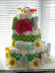 Spring Baby Shower Diaper Cake.