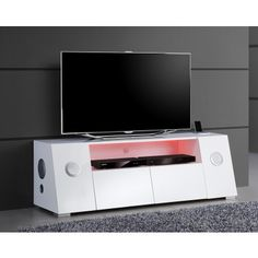 flash meuble tv avec led contemporain blanc laqu meuble. Black Bedroom Furniture Sets. Home Design Ideas