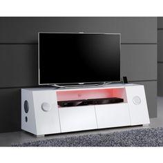 Meuble TV multimédia Bluetooth blanc