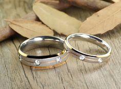 10 9 Women Ring Size Gemini His and Her 18K Gold Filled Matching Titanium Wedding Rings Set 8mm/&5mm Width Men Ring Size