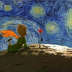 Starry Night The Little Prince ~ Vincent van Gogh Vincent Van Gogh, Art And Illustration, Van Gogh Tapete, Van Gogh Wallpaper, Van Gogh Art, Van Gogh Paintings, The Little Prince, Art Drawings, Street Art
