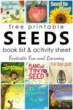 About Seeds for Kids Free printable seeds book list. Fiction and nonfiction books about seeds for kids. Fiction and nonfiction books about seeds for kids. Kindergarten Books, Preschool Books, Preschool Themes, Preschool Printables, Preschool Science, Kid Science, Physical Science, Science Classroom, Science Education